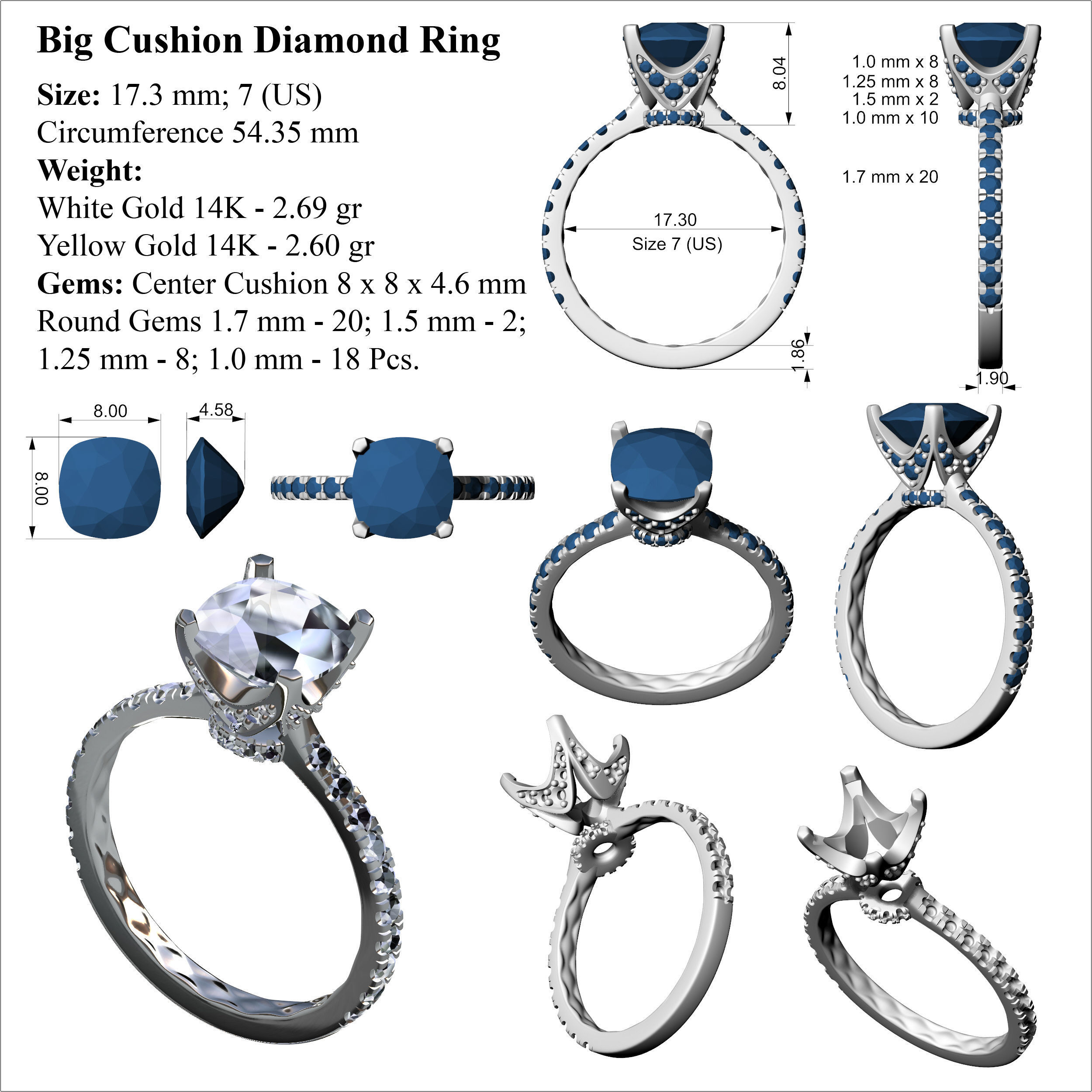 jewelry cgtrader model rings square ring diamond print pav stl models