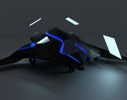 3D model Sci-Fi Stealth Dropship and Light Gunship Hybrid