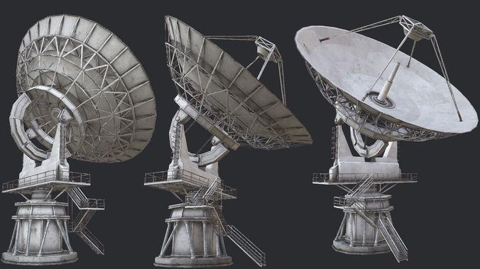 large array radio telescope pbr 3d model low-poly max obj mtl 3ds fbx dae tga 1