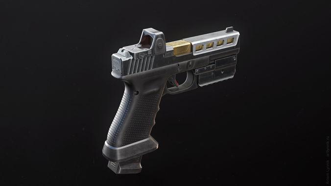 glock 17 custom pistol with attachments 3d model rigged max obj mtl 3ds fbx tga unitypackage prefab 1