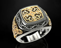 3D print model Ring with onyx and patterns 2