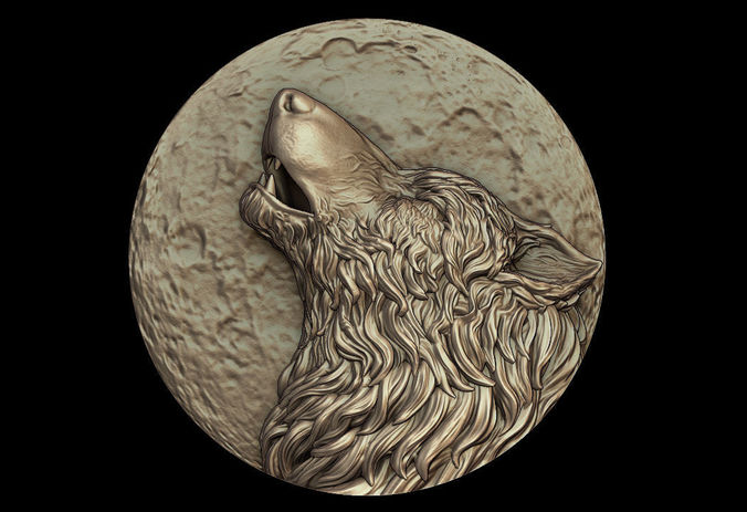 howling wolf medallion 3d model obj stl 1