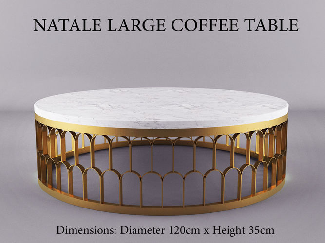 Natale Large Gold Andwhite Marble Coffee Table Model Max Obj Mtl Dxf 1