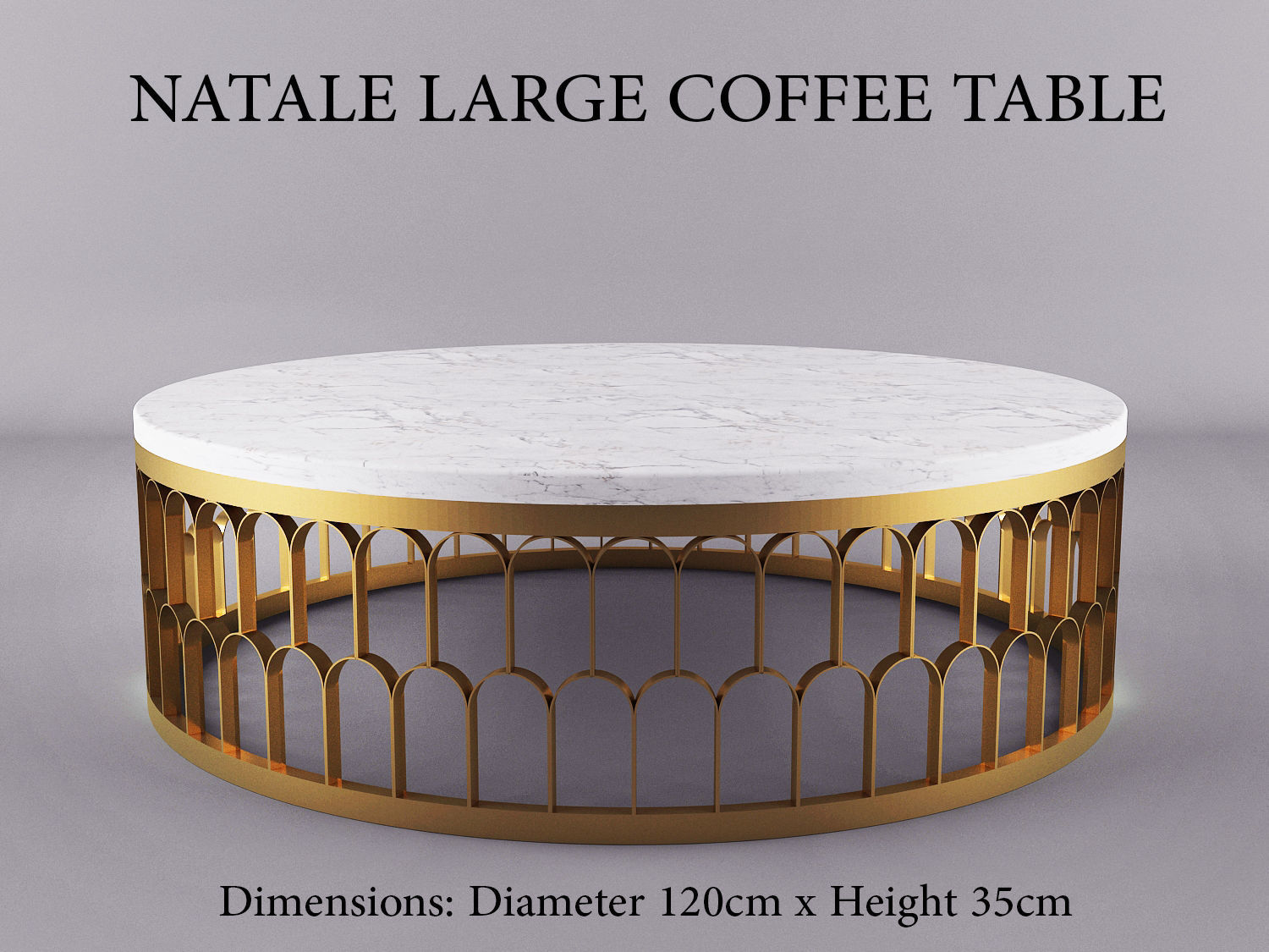 Natale Large Gold Andwhite Marble Coffee Table Model