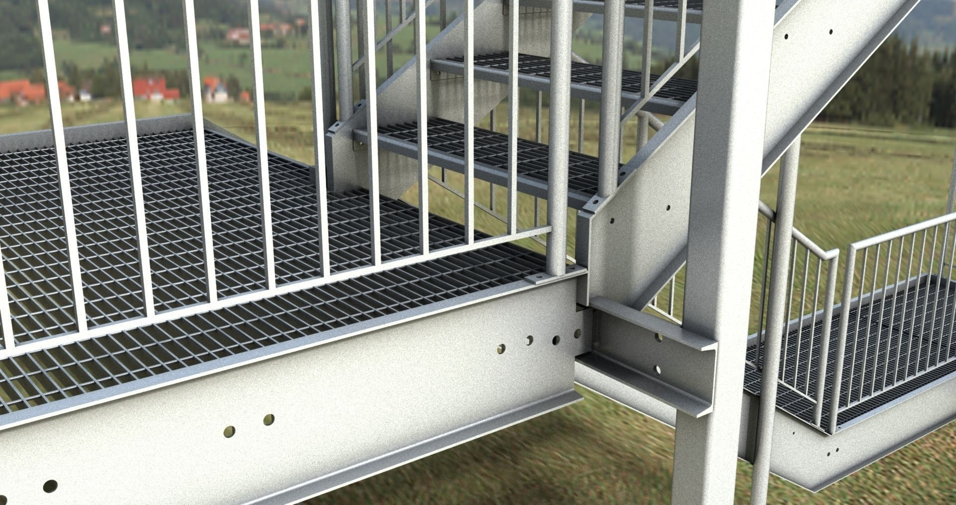 Merveilleux ... Galvanized Steel Stair Dwg 3d Model Dwg 2