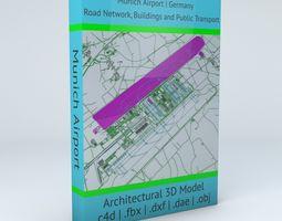 3D model Munich MUC Airport Roads Buildings and Public 2