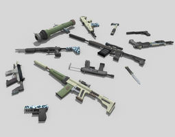 12 low poly no brand weapons 3D asset