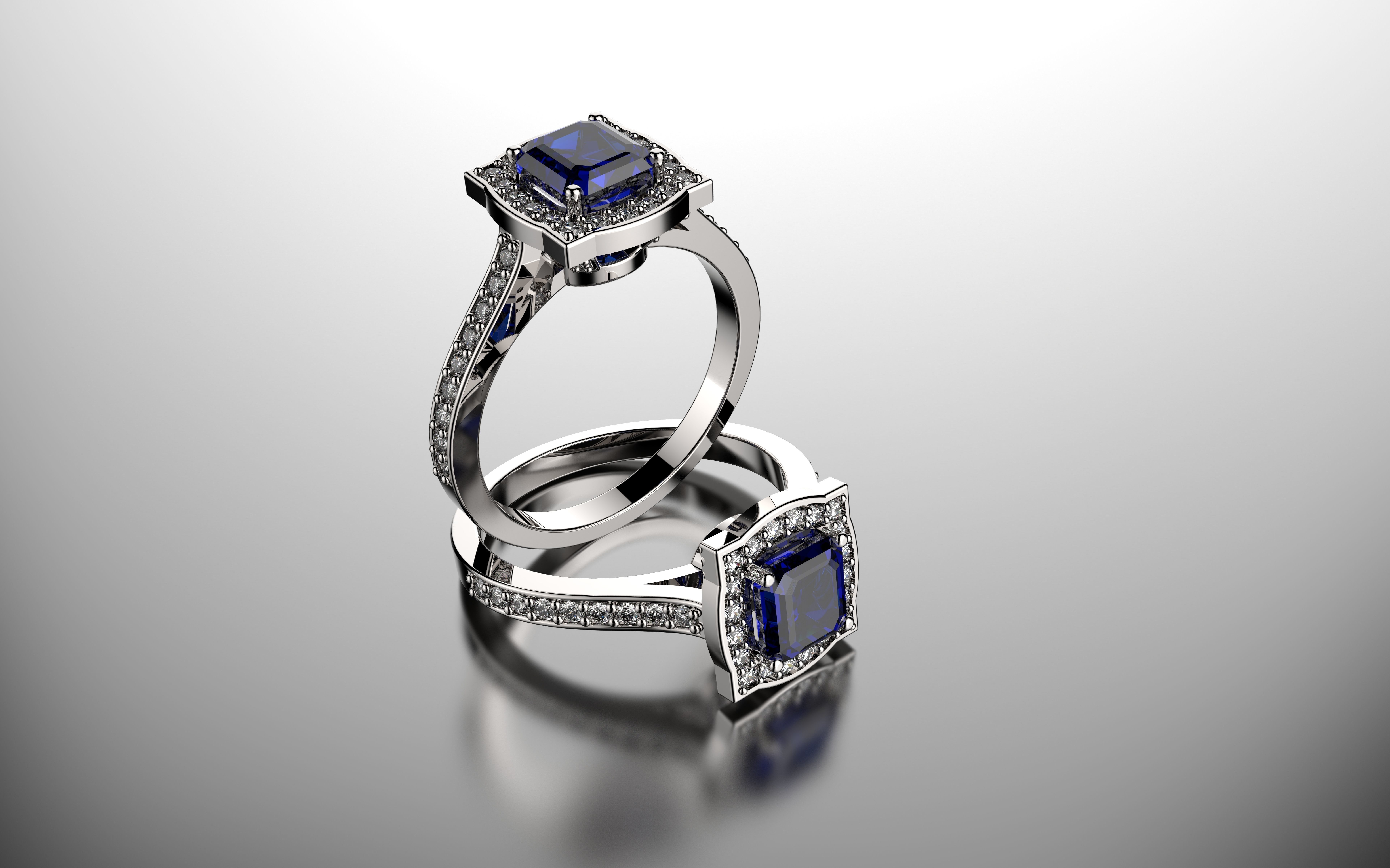 square diamond wedding ring 3d model stl 3dm 1 - Square Wedding Ring