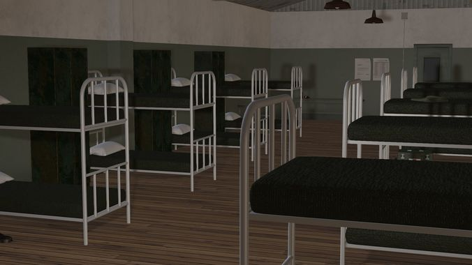 Animated 3d Model Army Military Barracks Room Cgtrader