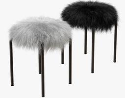 Plush fur stools faux fur 3D model