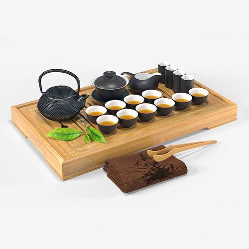 tea ceremony set 3d model max fbx 1