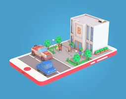Cartoon Bank Building on Phone screen 3D asset game-ready