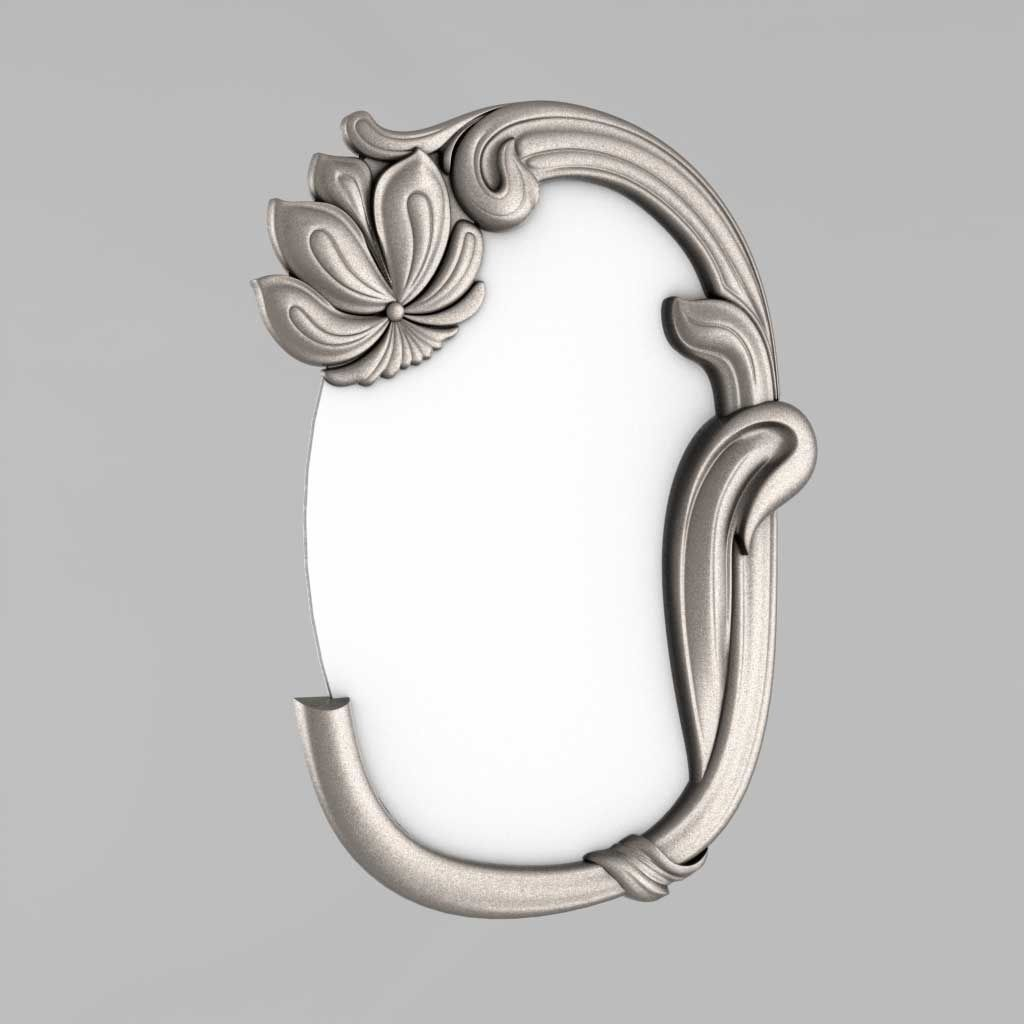 Frame mirror with flower