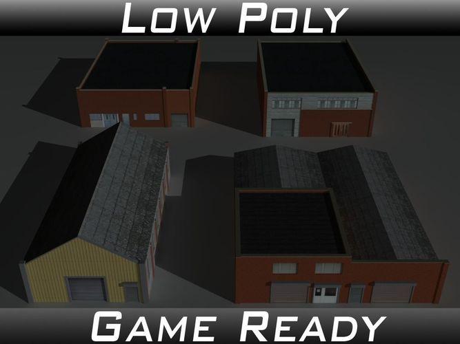 factory building set 7 3d model low-poly obj 3ds fbx mtl 1
