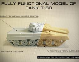 tank t-80  fully functional model 3d model stl