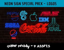Neon Signs Special Pack - Logos - 9 Assets realtime