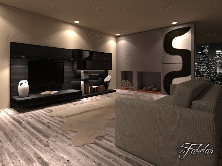 Living Room Night 3d living room 19 night | cgtrader