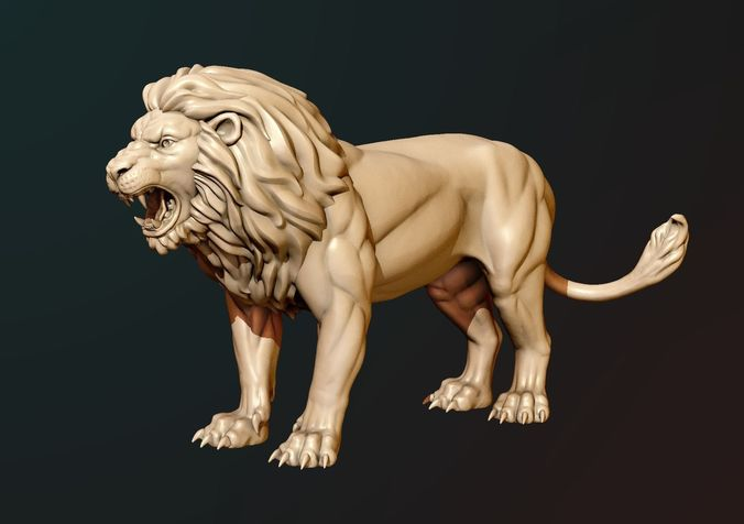 lion sculpture 3d model obj mtl fbx stl blend 1