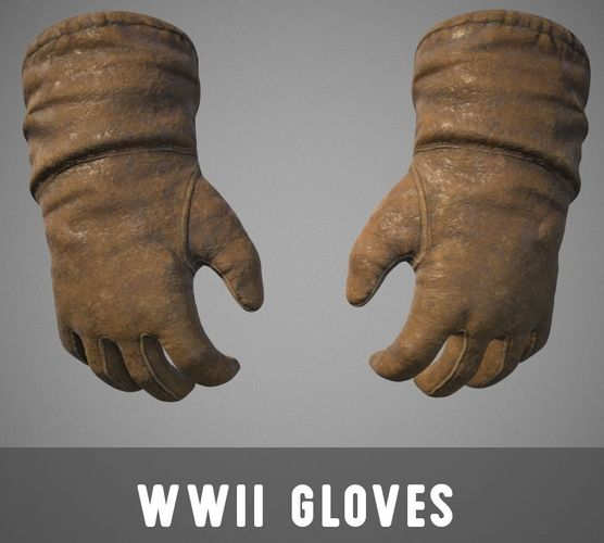 wwii gloves 3d model low-poly obj mtl fbx stl tga 1