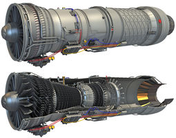 Complete and Sectioned Afterburning Turbofan Engine 3D