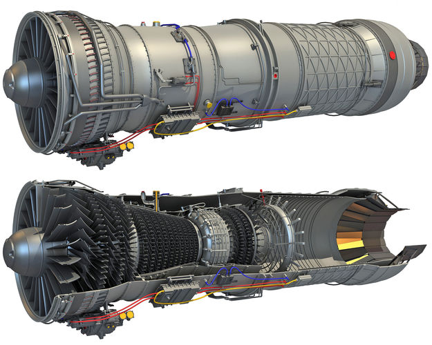 complete and sectioned afterburning turbofan engine 3d model max obj mtl 3ds lwo lw lws hrc xsi 1