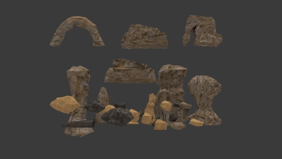 Game ready Low-poly Rock and Stones model