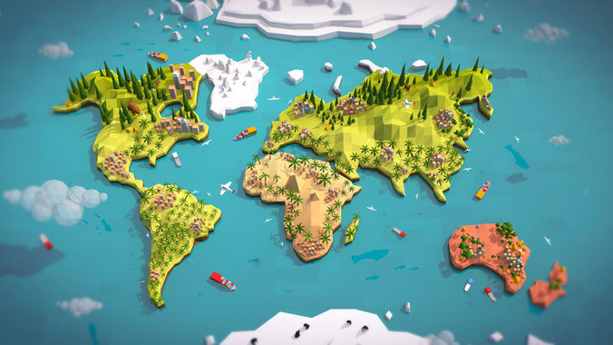 3D World Map World Map 3d | States Maps