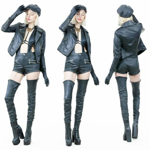 Hot Girl In Black Leather Boots Jacket Hat 3D Model-5652