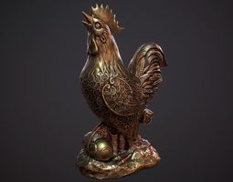 3D asset Decorative Rooster Statue