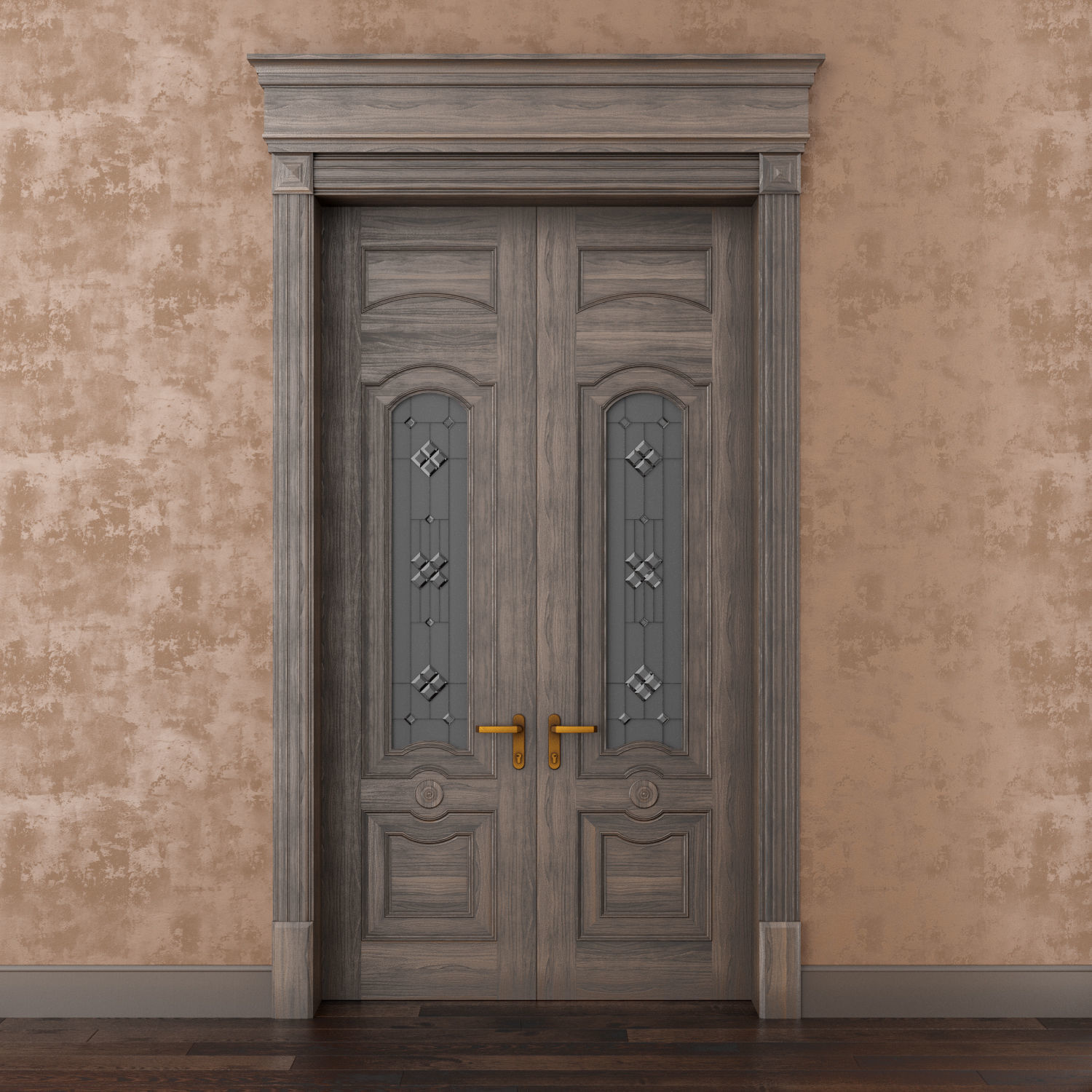 Classic Wood Door Whith Stained Glass Window 3d Model