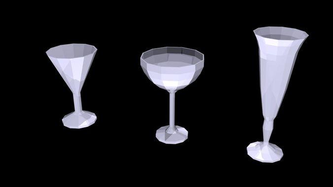 low poly glasses 1 3d model low-poly obj mtl 3ds fbx blend x3d ply 1