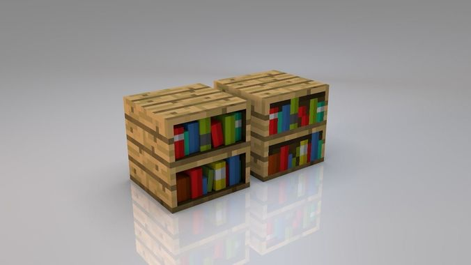 3d Minecraft Bookshelf Model Low Poly Obj Mtl 3ds Fbx C4d 1