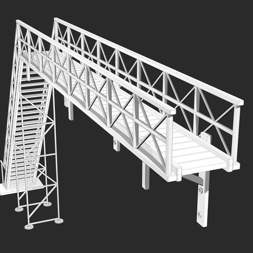 Industrial Metal Rusty Stairs 3d Model Obj Mtl 3ds Fbx C4d Dxf Dae 12