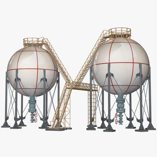 industrial storage spherical tanks 3d model obj 3ds fbx c4d dxf dae 1