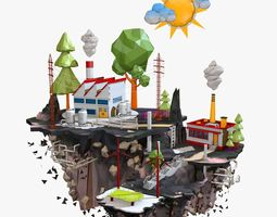 Floating Factory Island Low Poly 3D