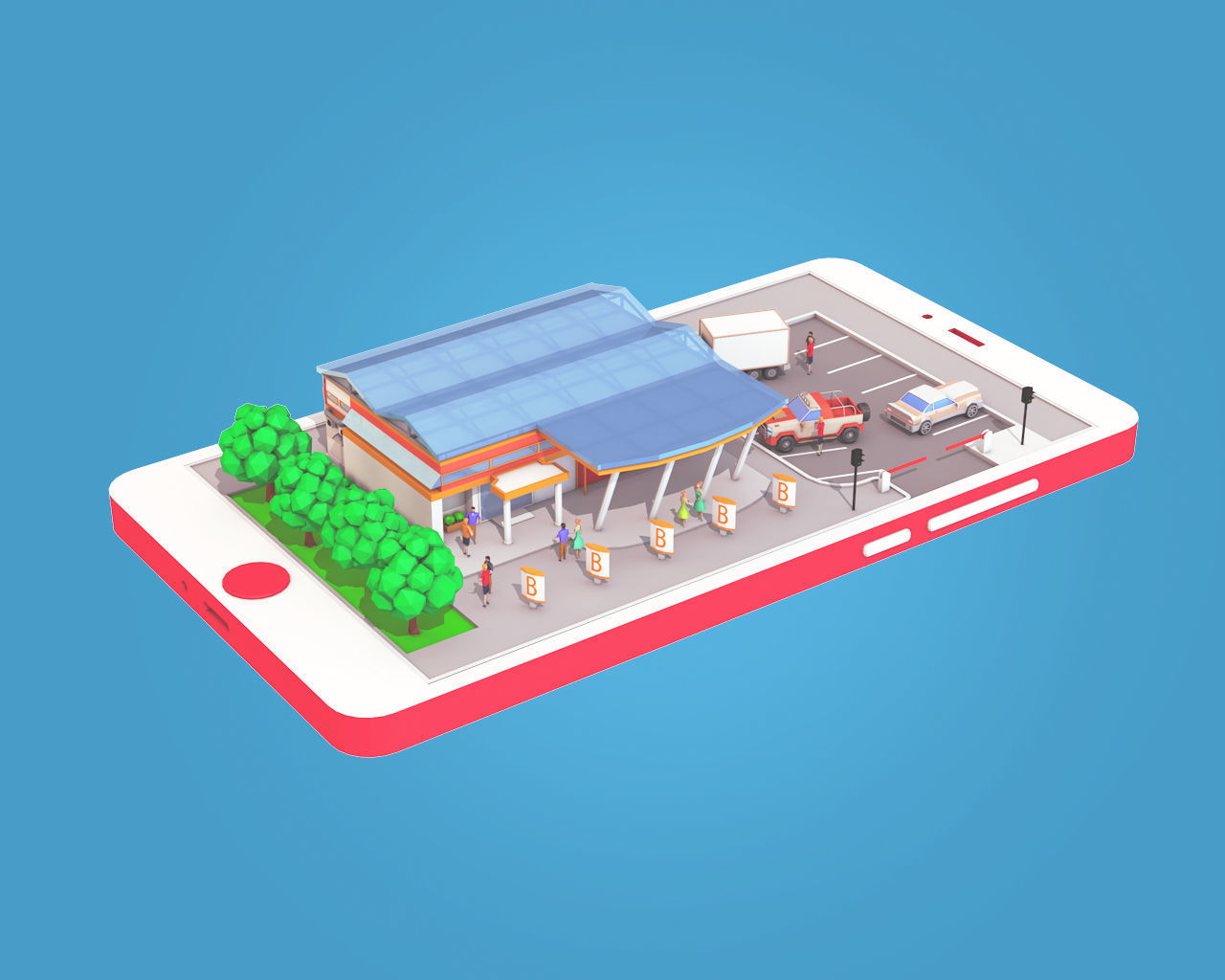 Cartoon Supermarket on Phone screen