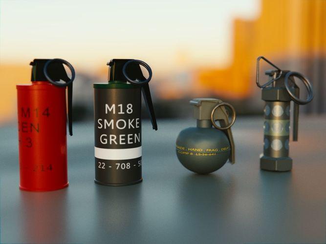 Grenades Pack Collection - M67 - AN-M18 Smoke- AN-M14 - M84 Stun   3D model