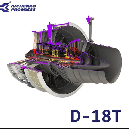 d-18t turbofan engine cutaway 3d model obj mtl fbx blend 1