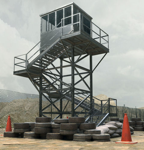 military watch tower 3d model low-poly max obj fbx mtl 1