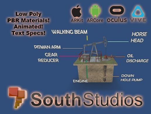 animated pumpjack ar vr unity 3dsmax 3d model low-poly rigged animated max unitypackage prefab 1