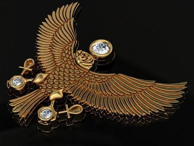 eagle pendant 3d model stl 1