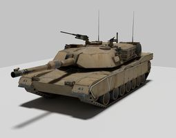 3D model low-poly Tank M1A1 Abrams