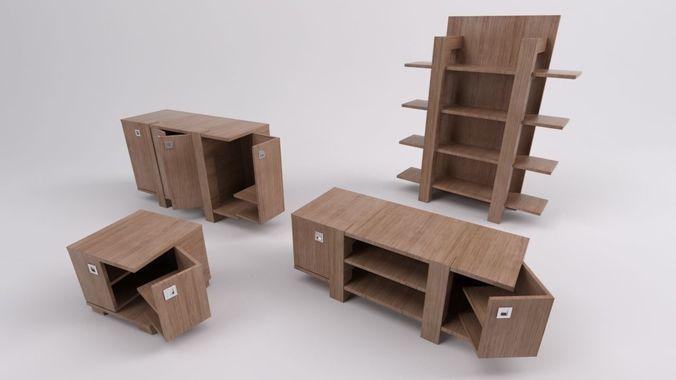 Wooden Furniture Set 3d Cgtrader