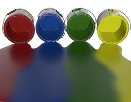3D Spilled Paint 4 colors