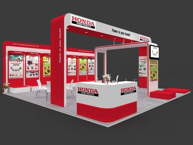 exhibition stall 3d model 8x8 mtr 3 sides open 3d model max 1