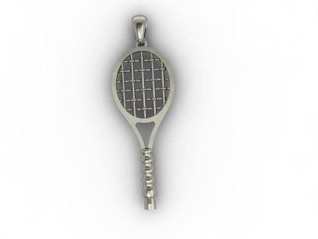 3d printable model tennis racket pendant cgtrader tennis racket pendant 3d model stl 3dm 3 aloadofball Choice Image