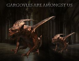 3D asset Gargoyle Statue Gameready Midpoly PBR