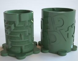 Maze Puzzle Container with Slots for 3D print model 2