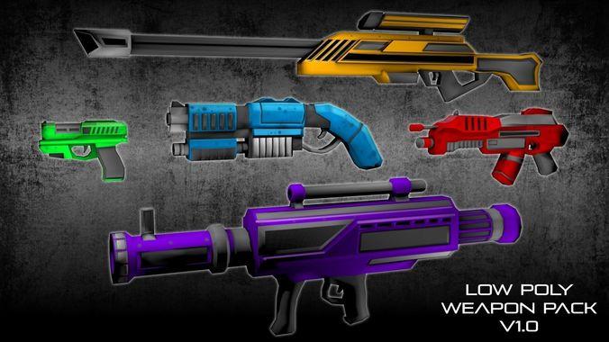 low poly scifi weapons pack 1 3d model low-poly obj mtl 3ds fbx stl blend dae 1
