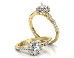 Engagement Halo ring round diamond 3dprint
